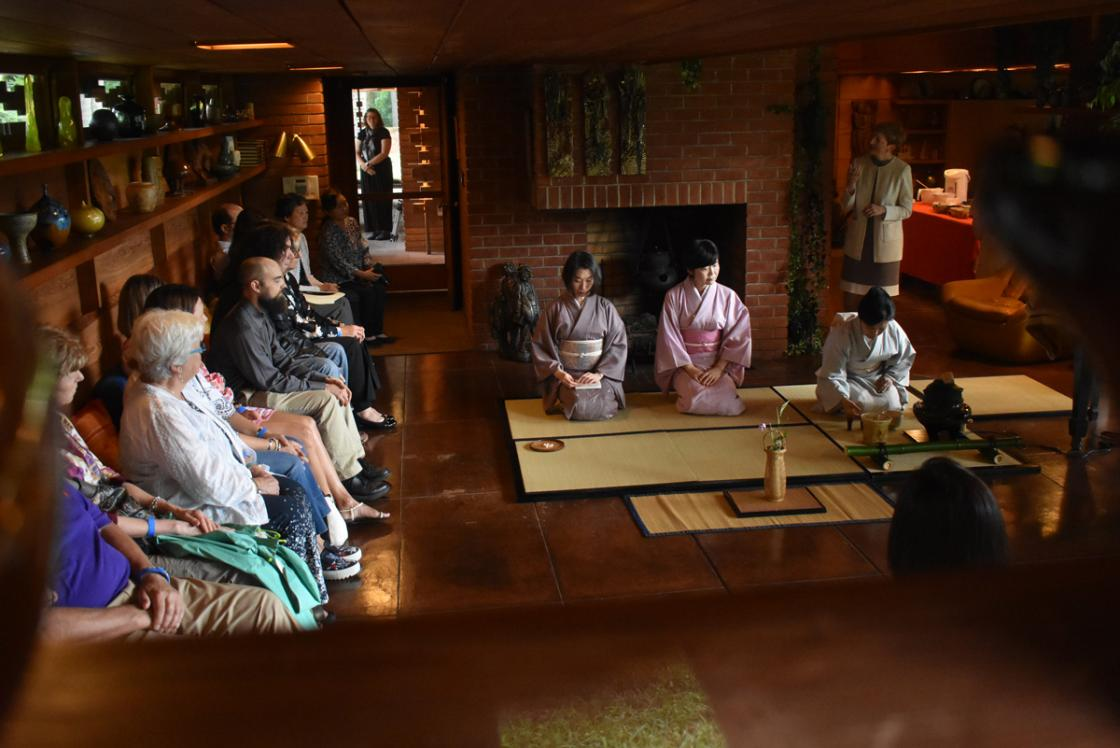 Photograph of a Japanese Tea Ceremony at Cranbrook's Frank Lloyd Wright Smith House, August 2018.