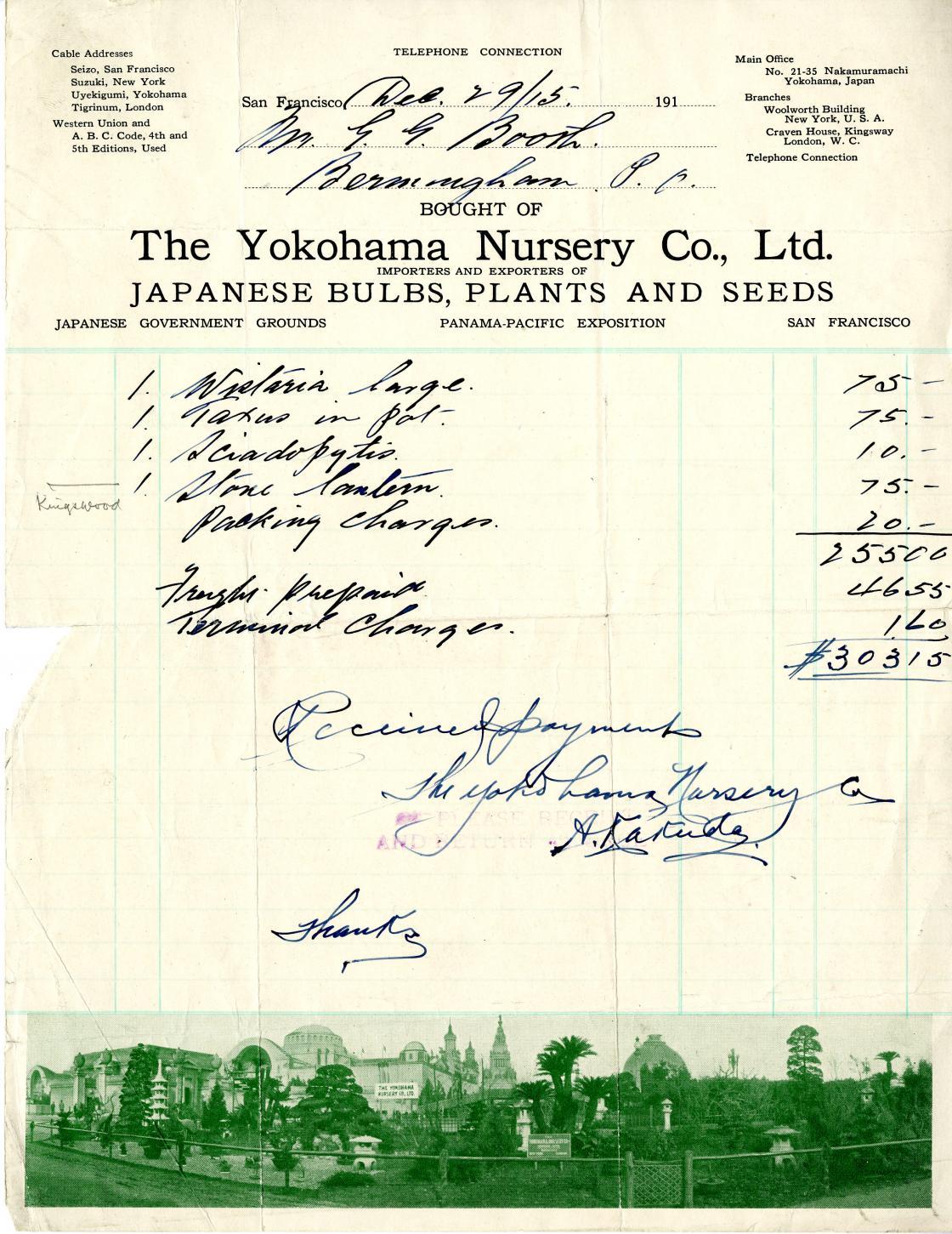 Yokohama Nursery Receipt, 1915