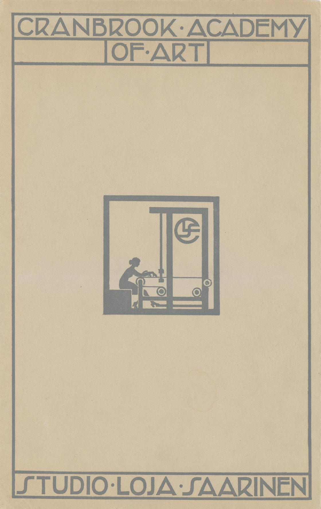 Cover of a Studio Loja Saarinen brochure, c. 1932. Courtesy Cranbrook Archives, Saarinen Family Papers.