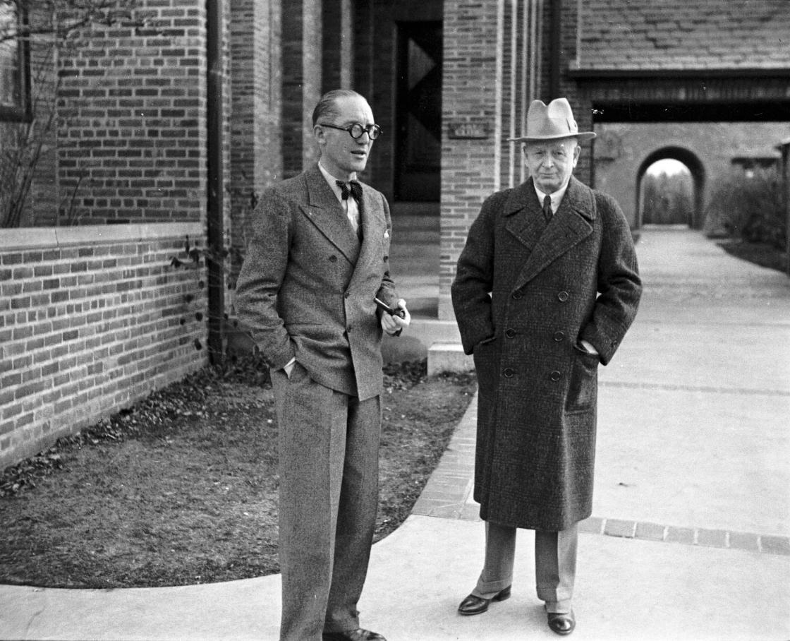 Le Corbusier with Eliel Saarinen at Cranbrook Academy of Art. November 1935. Richard G. Askew, photographer. Courtesy Cranbrook Archives, Cranbrook Center for Collections and Research.