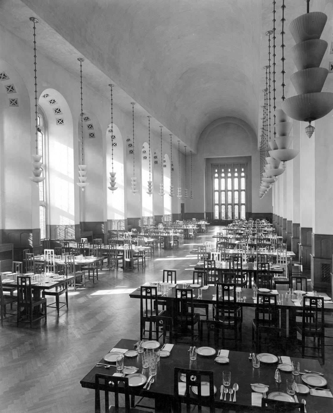 Cranbrook School Dining Hall set for dinner, October 1936. Courtesy Cranbrook Archives.