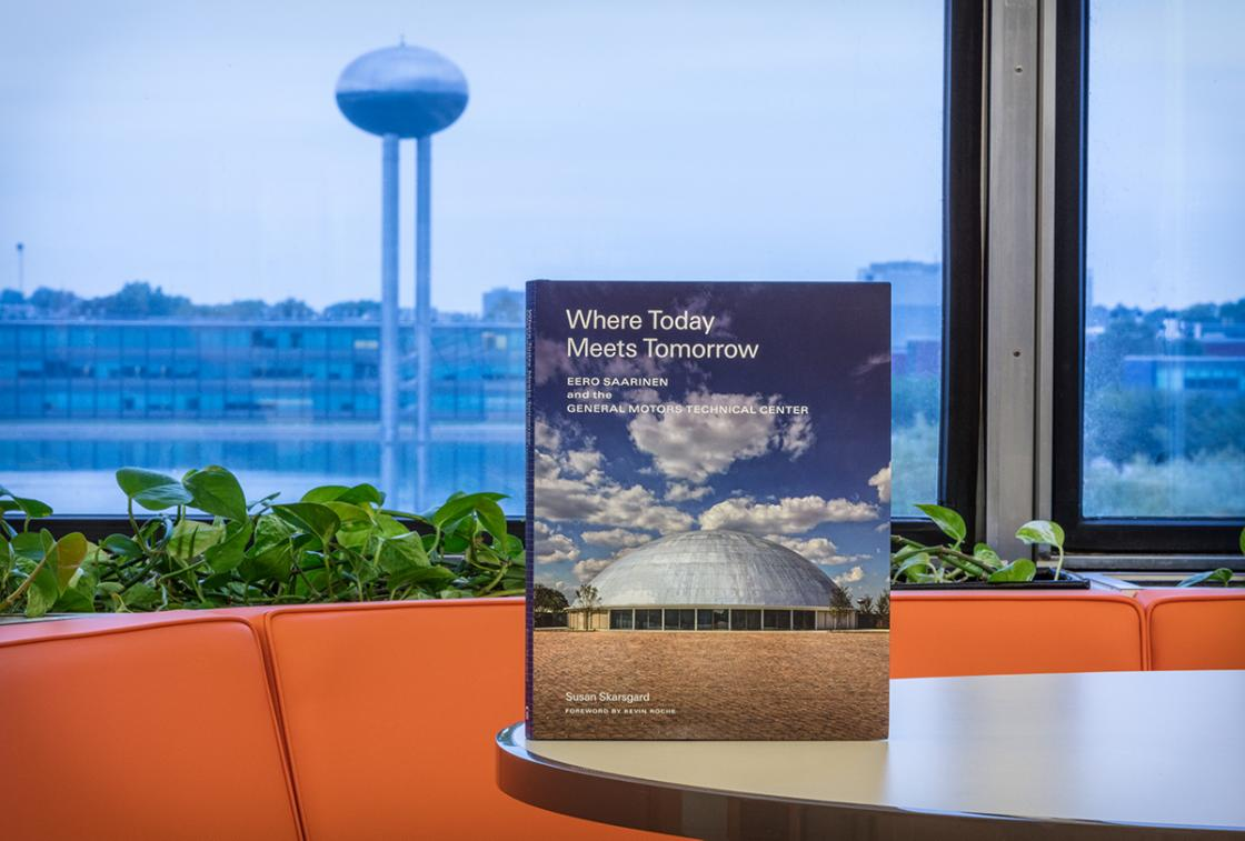 """Photograph of the """"Where Today Meets Tomorrow"""" book at the General Motors (GM) Technical Center"""