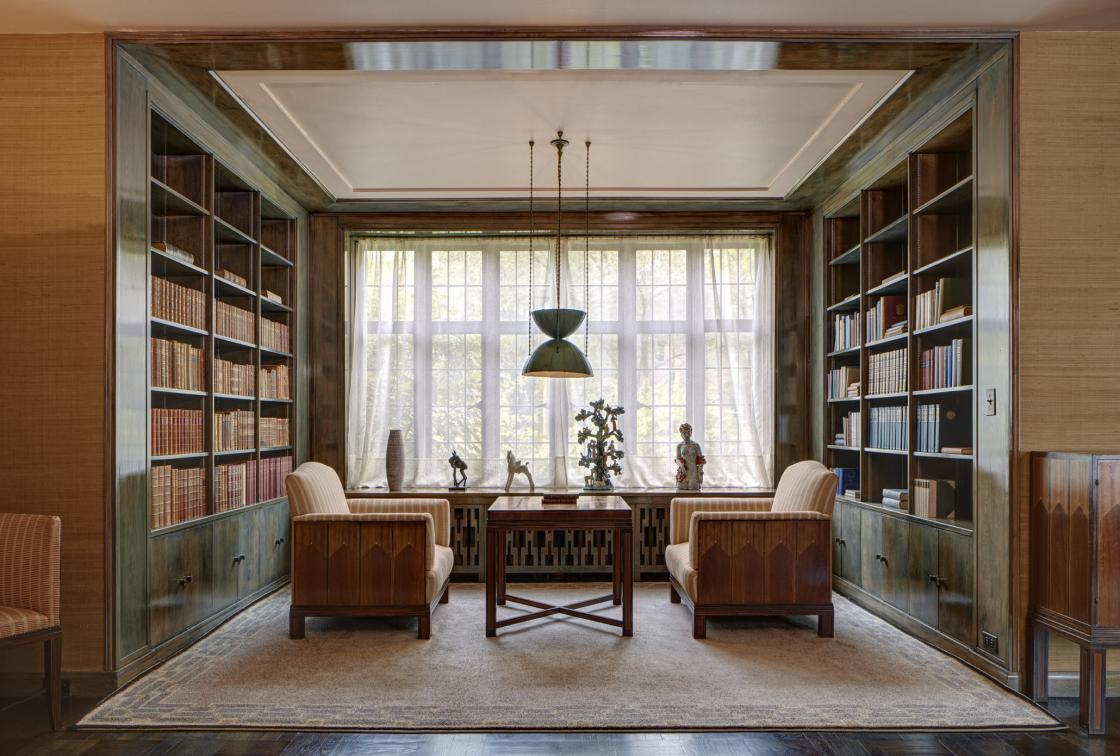 Saarinen House library. Photograph by James Haefner. Courtesy of Cranbrook Center for Collections and Research.