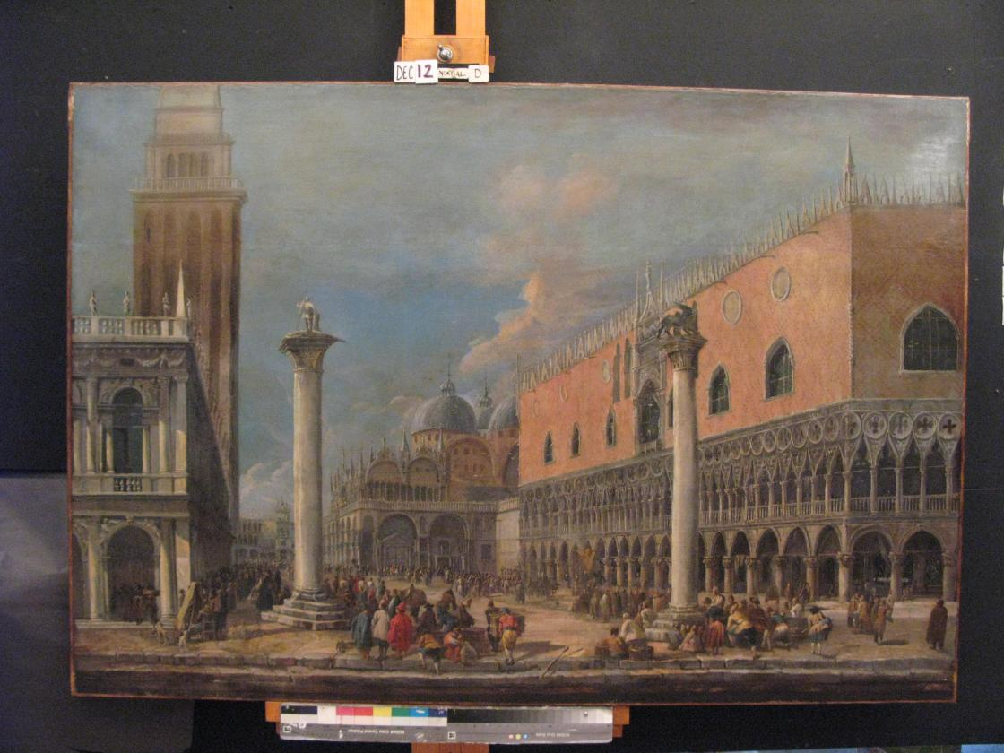 Luca Carlevarijs, The Piazzetta, Venice, early 18th Century. Photography by Conservation & Museum Services Inc.; Courtesy Cranbrook Center for Collections and Research.