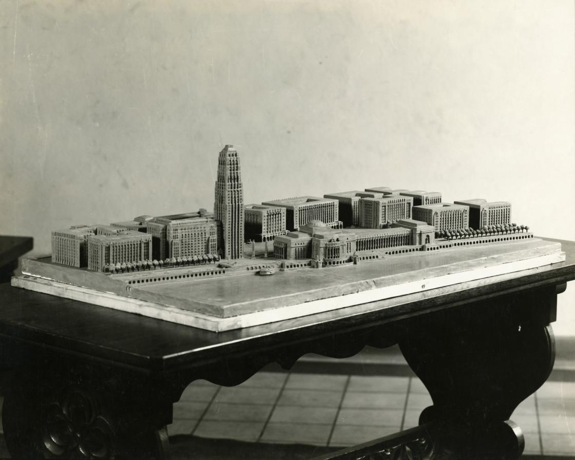 Eliel Saarinen (Architect), Model of Proposed Detroit Riverfront Project, circa 1924. Photographer Unknown; Photograph Collection of Cranbrook Archives.