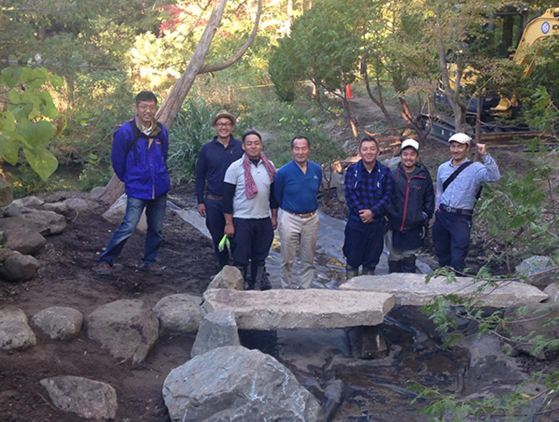The End of the First Day of the Lily Pond Cascade Rehabilitation with (from left to right): Ryuichi Wakisaka, Yuji Aoe, Rikiya Oosawa, Hiromu Terashita, Yasumasa Imada, Kazuki Chida, and Hiroyoshi Inada.