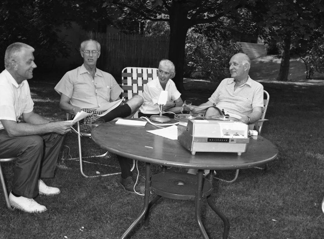 From left: Carleton McClain, Henry Scripps Booth, Margaret Russell, and Harry Hoey, July 1964.