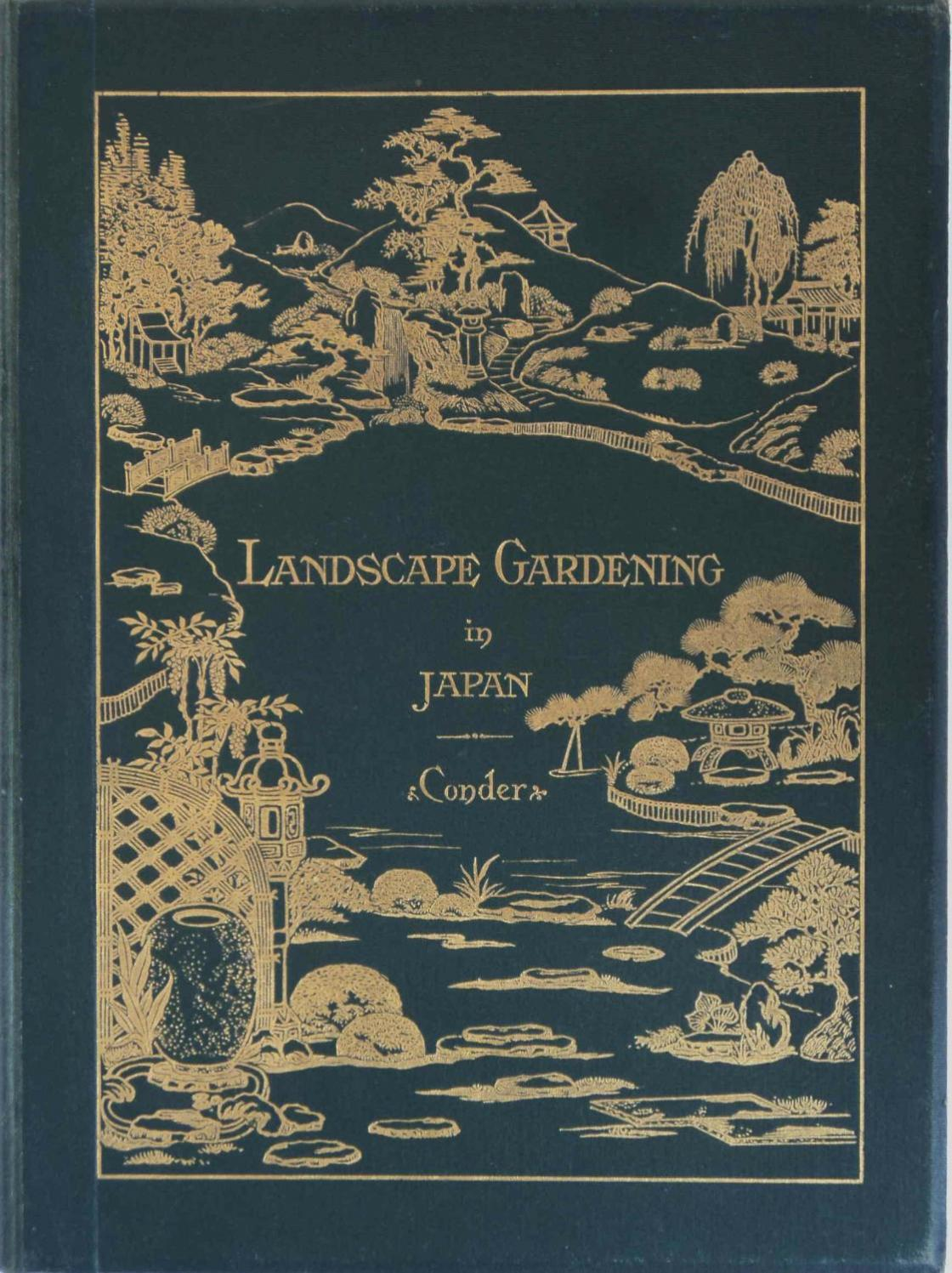 "Photograph of the cover of ""Landscape Gardening in Japan,"" 1912 edition."