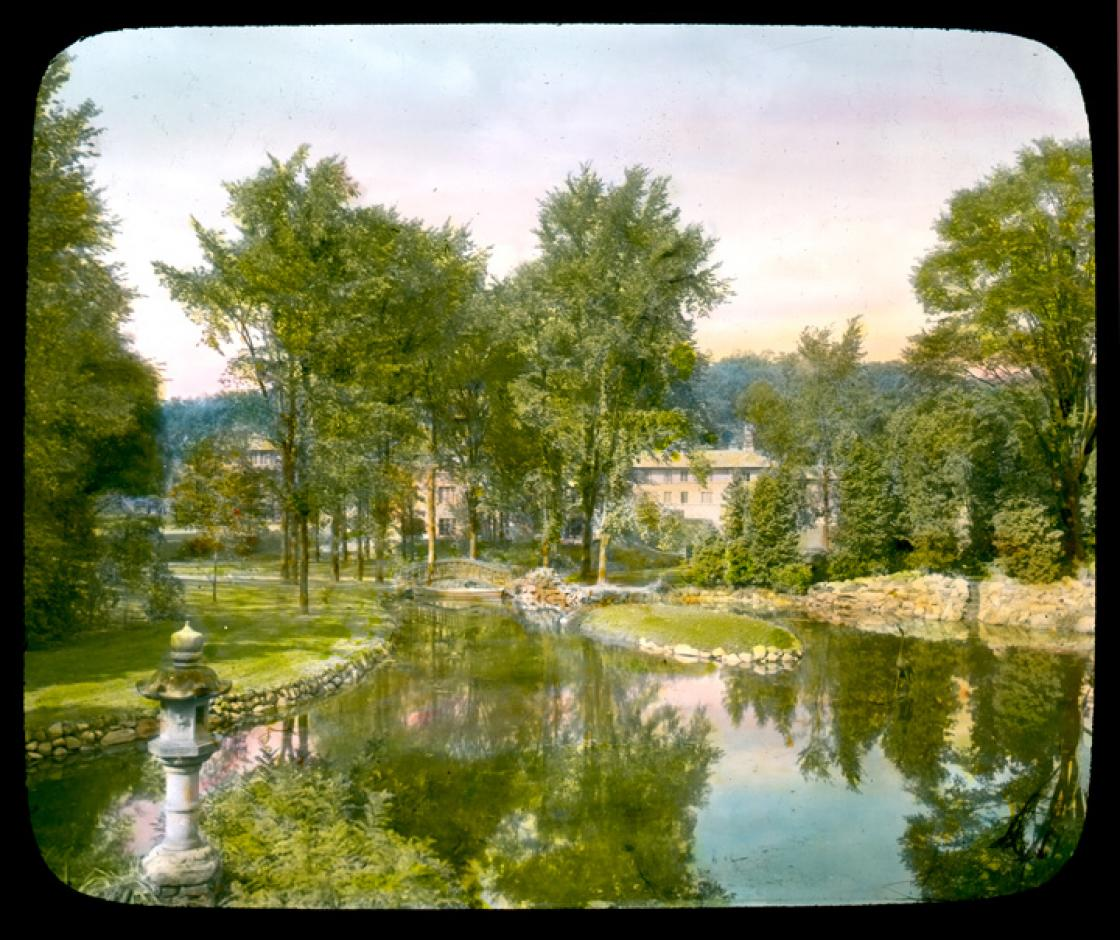 Archival photograph of the Japanese Garden at Cranbrook. Copyright Cranbrook Archives.
